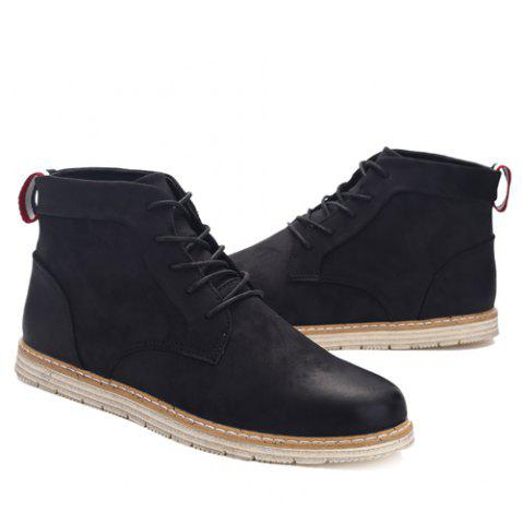 Cheap Stitching Lace-Up PU Leather Ankle Boots - 44 BLACK Mobile