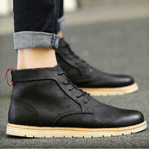 Outfit Stitching Lace-Up PU Leather Ankle Boots - 40 BLACK Mobile
