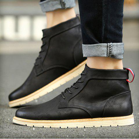 Fancy Stitching Lace-Up PU Leather Ankle Boots - 40 BLACK Mobile
