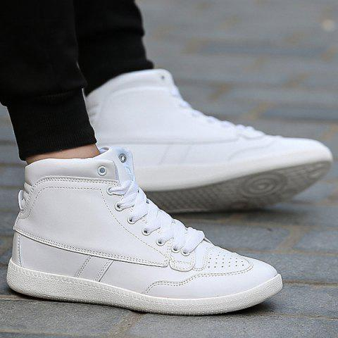 Hot High Top PU Leather Athletic Shoes - 43 WHITE Mobile