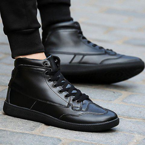 Best High Top PU Leather Athletic Shoes - 42 BLACK Mobile