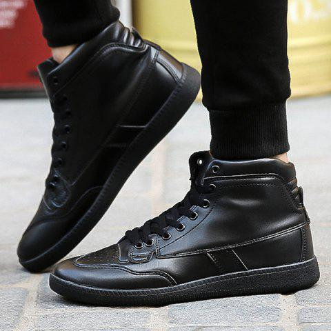 Affordable High Top PU Leather Athletic Shoes - 40 BLACK Mobile