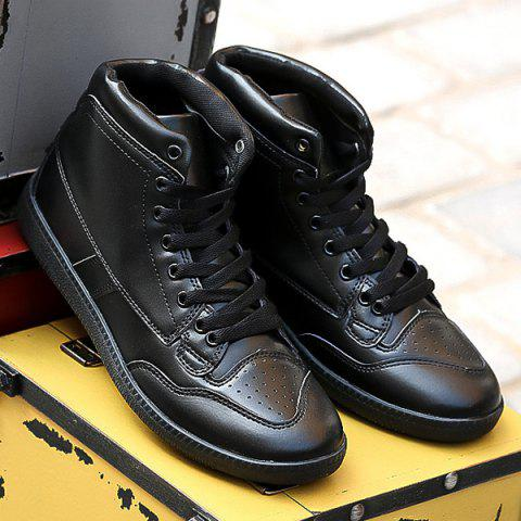 New High Top PU Leather Athletic Shoes - 40 BLACK Mobile