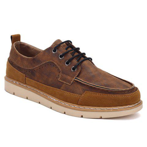 New Lace-Up Stitching Suede Spliced Casual Shoes