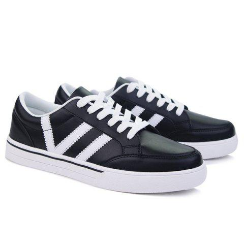 Outfits Color Splice Lace-Up Skate Shoes - 42 BLACK Mobile