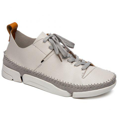Shops Stiching Lace-Up Suede Spliced Casual Shoes