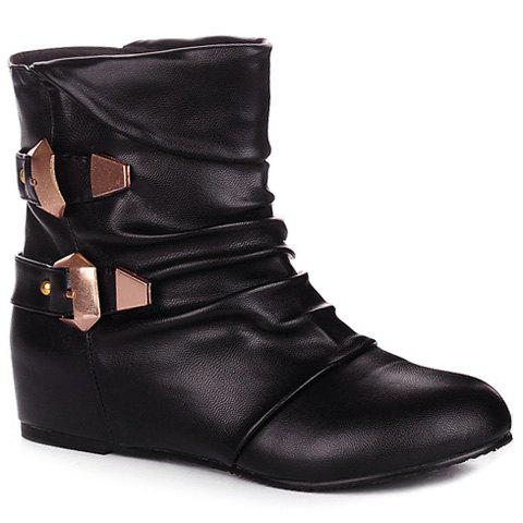 Cheap Double Buckle PU Leather Ruched Short Boots