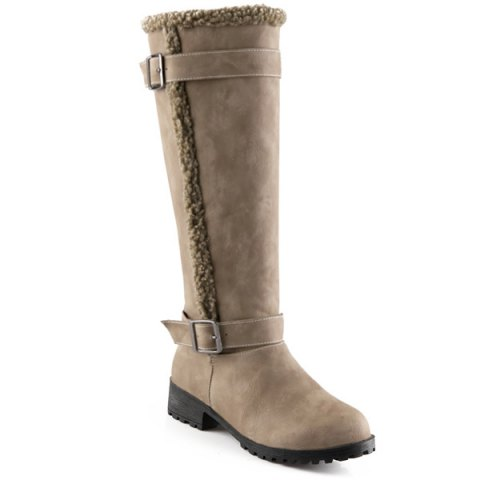 Cheap Buckles Low Heel Faux Shearling Mid-Calf Boots KHAKI 41