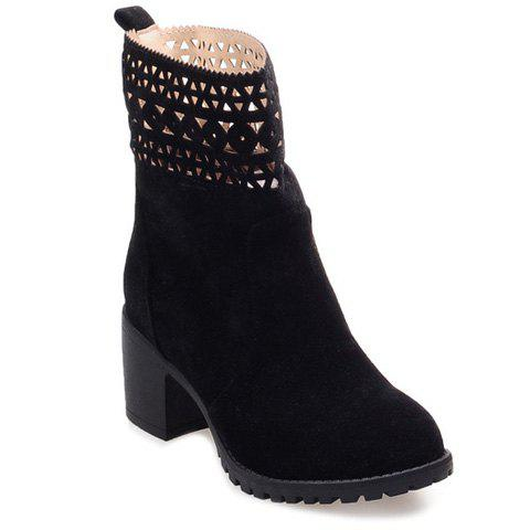 Latest Cut Out Suede Chunky Heel Boots BLACK 41