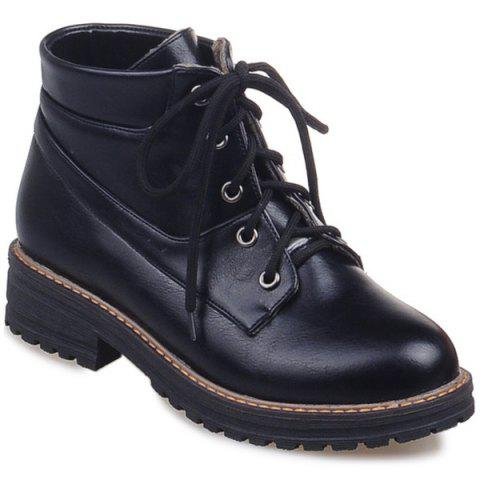 Preppy PU Leather Lace-Up Ankle Boots - Black - 39