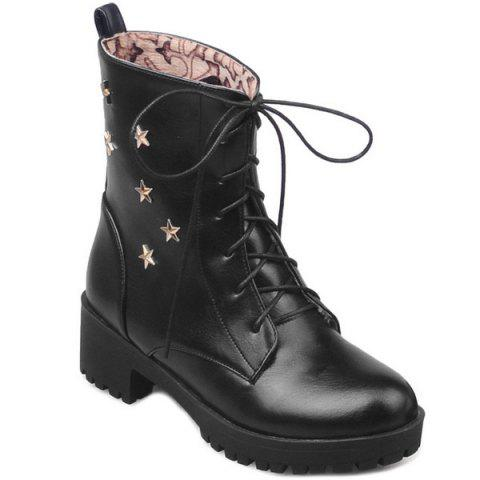 Best Chunky Heel Star Embellished Combat Boots BLACK 41