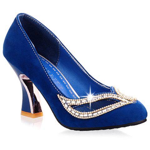 Best Hollow Out Rhinestone Chunky Heel Pumps