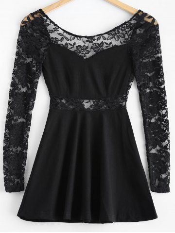 Discount 3/4 Sleeve Lace-Insert Backless Dress BLACK L