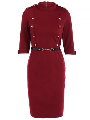 Sale Buttoned Belted Bodycon Sheath Dress WINE RED XL