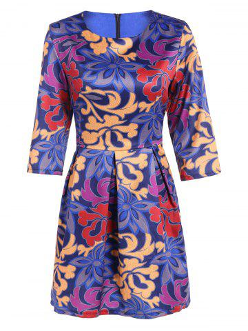 Outfit 3/4 Sleeve Ruffled Print Dress BLUE 2XL