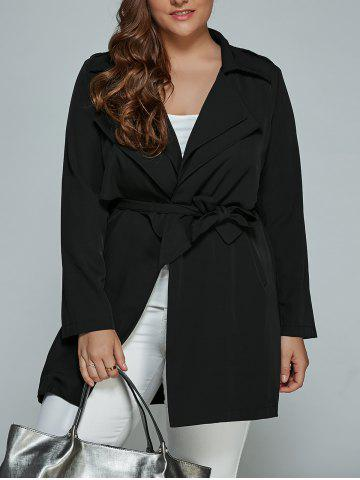 Shops Overlay Tied Plus Size Trench Coat BLACK 4XL