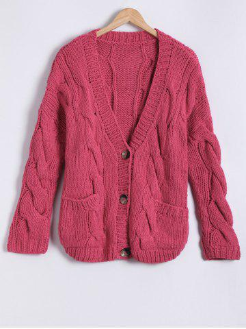 Shop Front Pocket Design Button Up Hand-Knitted Short Cardigan RED ONE SIZE