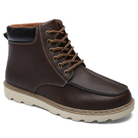 Lace-Up Color Spliced PU Leather Boots - Deep Brown - 40