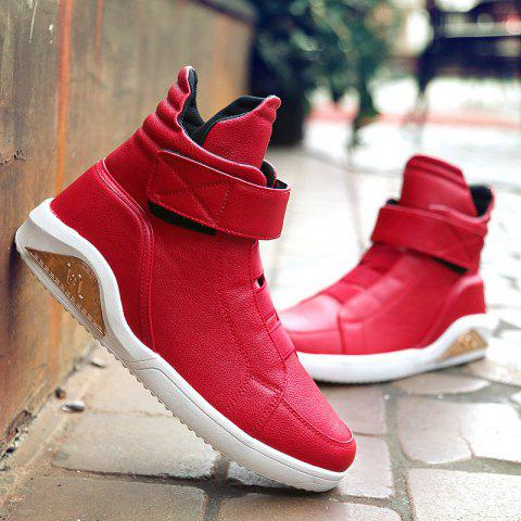 PU Leather Elastic Band Stitching Boots - Red - 44