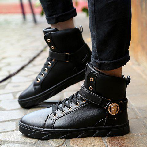 Latest Metal Skull Pattern Tie Up Boots - 43 BLACK Mobile
