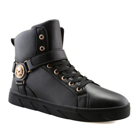 Unique Metal Skull Pattern Tie Up Boots - 43 BLACK Mobile