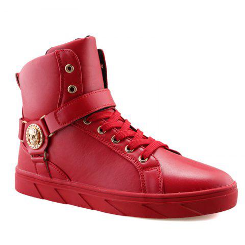 Metal Skull Pattern Tie Up Boots - Red - 40