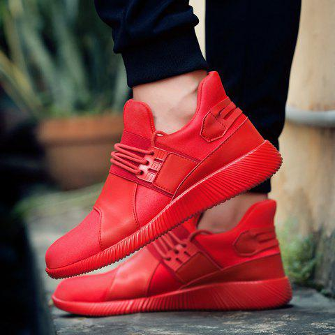 Sale Elastic PU Leather Athletic Shoes - 43 RED Mobile