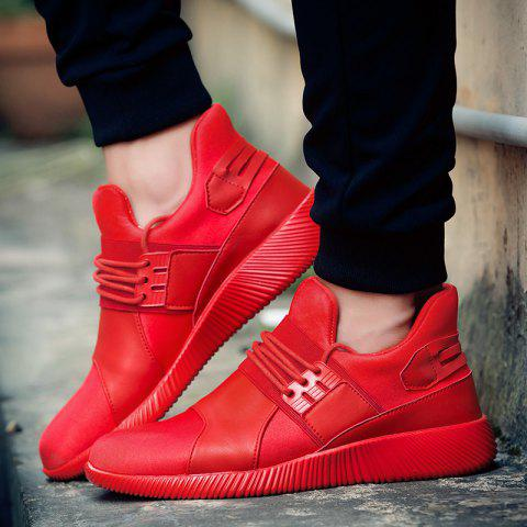Latest Elastic PU Leather Athletic Shoes - 42 RED Mobile