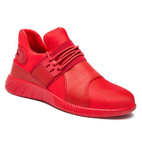 Online Elastic PU Leather Athletic Shoes RED 42
