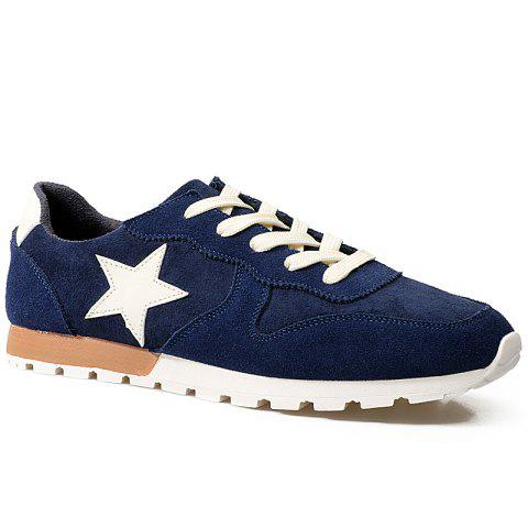 Chic Colour Block Star Pattern Athletic Shoes - 42 DEEP BLUE Mobile