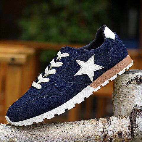 New Colour Block Star Pattern Athletic Shoes - 42 DEEP BLUE Mobile