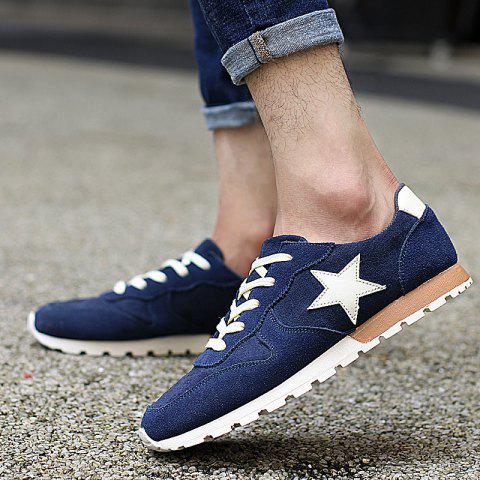 Discount Colour Block Star Pattern Athletic Shoes - 42 DEEP BLUE Mobile