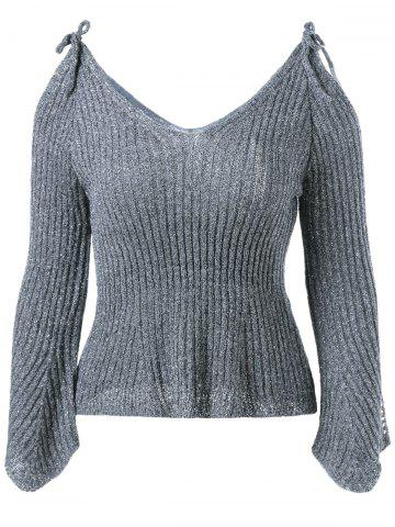 V Neck Cold Shoulder Pullover Sweater - Deep Gray - One Size
