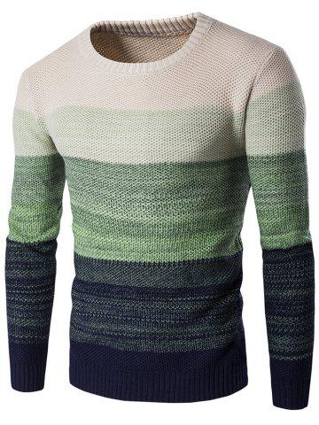 Cheap Crew Neck Gradient Color Space Dyed Sweater GREEN 2XL