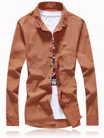 Outfit Turn-Down Collar Vertical Stripe Button Embellished Shirt CAMEL 7XL