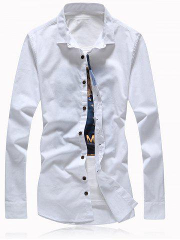 Shops Button Embellished Turn-Down Collar Plus Size Shirt
