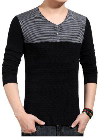 Cheap V-Neck Color Block Splicing Button Embellished Sweater