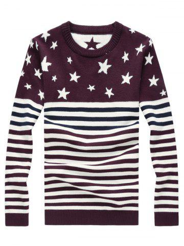 Outfit Pentagram Stripe Color Block Splicing Knitting Sweater PURPLE 4XL