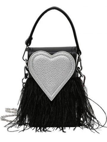 Heart Pattern Fringe Color Block Handbag - Black