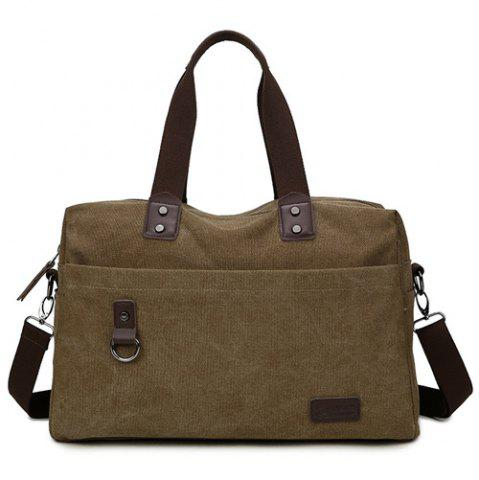 Latest Casual PU Spliced Canvas Weekend Bag COFFEE