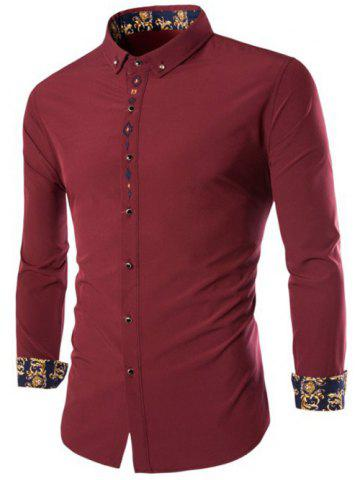 Latest Long Sleeves Embroidery Button-Down Shirt WINE RED 3XL