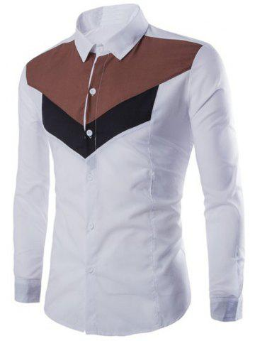 Color Splicing Turn-Down Collar Long Sleeves Shirt - White - M