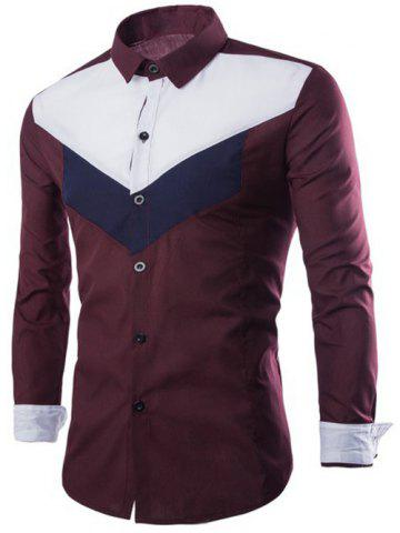 Color Splicing Turn-Down Collar Long Sleeves Shirt - Wine Red - 2xl