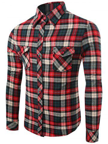 Shop Checks Pattern Single-Breasted Long Sleeve Shirt COLORMIX 2XL