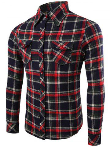 Outfits Long Sleeve Flap Pocket Plaid Flannel Shirt RED/BLACK XL