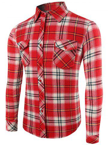 Store Plaid Pattern Long Sleeve Button Up Shirt WATERMELON RED 2XL