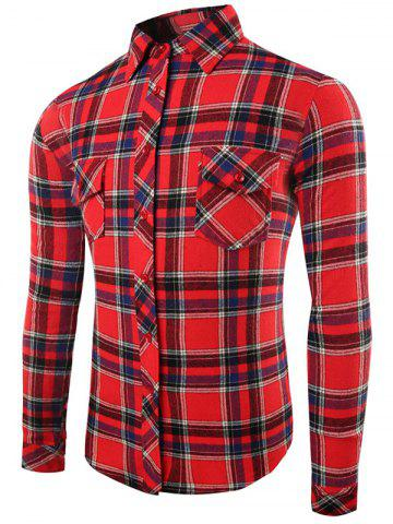 Turn-Down Collar Long Sleeve Flap Pocket Checked Shirt - Red - L