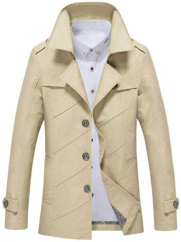 New Single Breasted Long Sleeve Turn-Down Collar Jacket LIGHT KHAKI 4XL