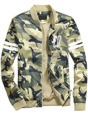 Trendy Camouflage Letters Pattern Stand Collar Zip Up Jacket