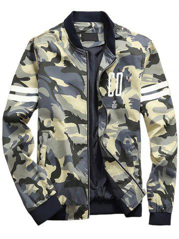 Camouflage Letters Pattern Stand Collar Zip Up Jacket